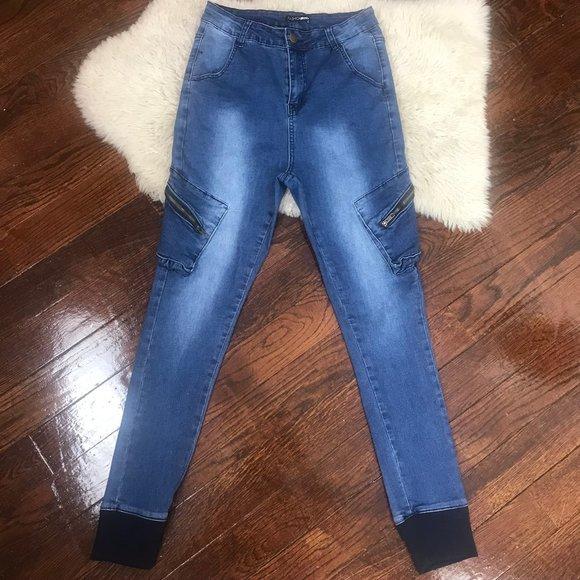 Light Blue Distressed Denim Joggers Ripped Cut Skinny Blue Jeans Fashion Nova